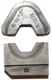 Pressbakke, sekskant, kun for DIN-norm Cu 35 og Al 25