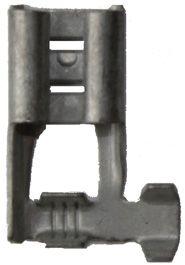 B 1507 FLA 8. Uisolert kabelsko, flatstifthylse, hun  (6,3 x 0,8mm), i vinkel, lang 0,75-1,5mm²